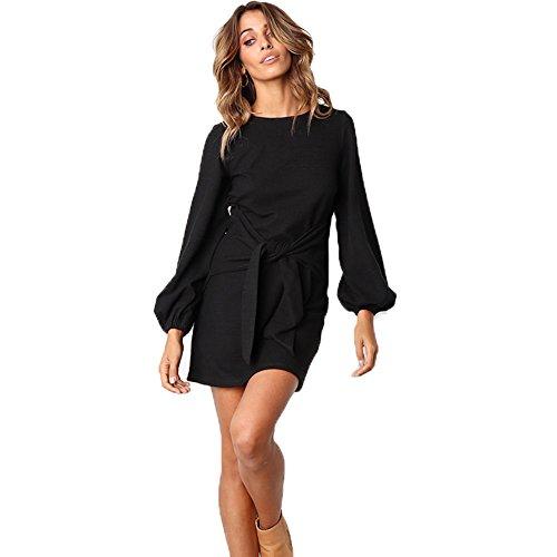 ALAIX Women's Casual Dress Crewneck Long Sleeve Bandage Mini T Shirt Dress Black-L by ALAIX
