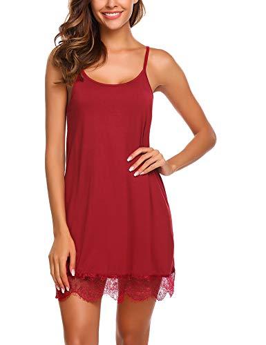 - Avidlove Women's Slip Nightie Sleepwear Lace Trim Nightgown Lace Chemise (Dark red,L)