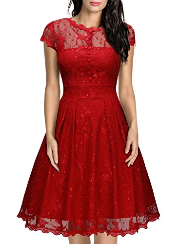 Missmay Women's Vintage Cap Sleeve Lace Overlay Elegant Evening Party Swing Dress