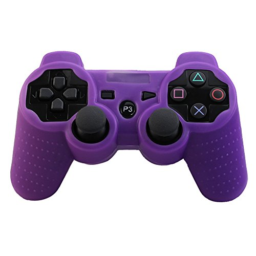 Alouflower Silicone Rubber Skin Grip Protective Cover Case For Playstation 3 PS3 Controller (Purple)