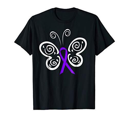 - Purple Ribbon Butterfly Alzheimer's Disease Awareness Tshirt