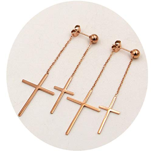Unique DesignTitanium Steel Rose Gold Plated Shining Double Cross Ball Ear Stud Dangle Earrings