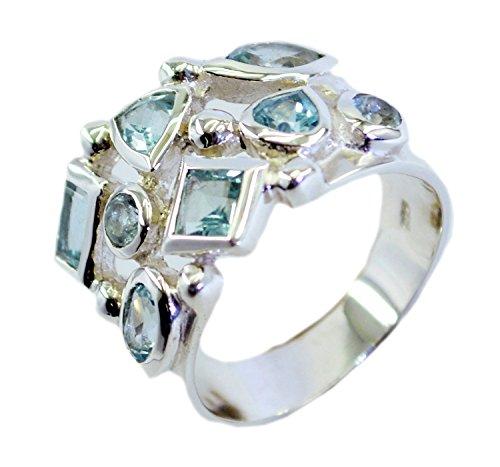 Gemsonclick Real Blue Topaz Ring 925 Silver Mixed Gemstone Bezel Setting Handmade Size (Mixed Gem Ring)