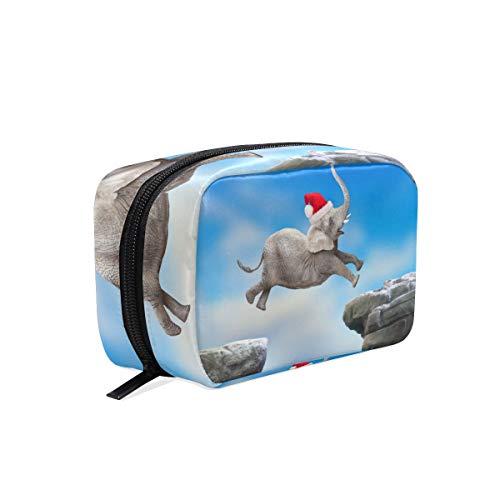 Women Girl Cosmetic Makeup Bag Travel Makeup Bag Organizer Toiletry Bag for Vacation Big Elephant Jumping