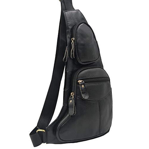- Vintage Leather Sling Bag Backpack for Men Crossbody Shoulder Chest Day Pack Backpacks (Black)