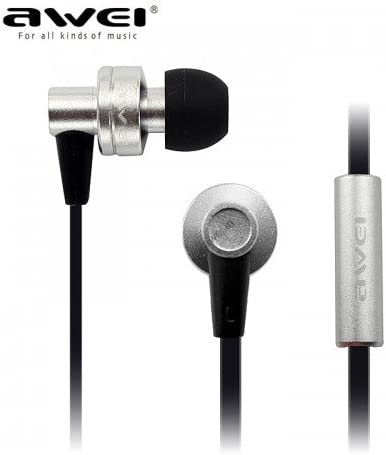 Cellphonez reg; Awei ES 900i High Bass  amp; Best Sound in Ear Earphone with Mic for Apple, Sony  amp; HTC Phones.  Silver  Mobile Phone Wired Headset