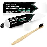 Bamboo Charcoal Toothpaste + Bamboo Toothbrush For Teeth Whitening - Mint Flavor 105g