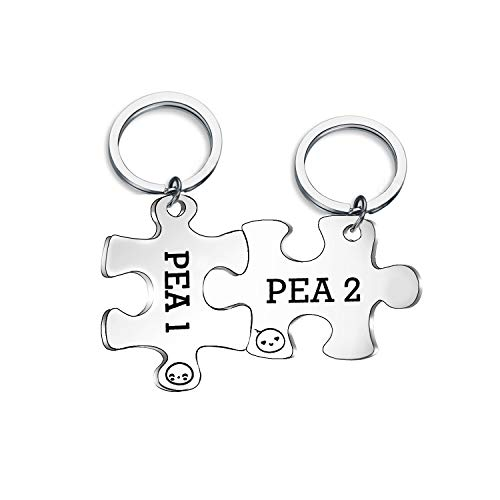 (CHOROY Twins Keychain Set Two Peas in A Pod Pea 1 & Pea 2 Keychain Set Twins Jewelry Gift for Twin Sister/Brother Best Friend (pea1 & pea2 Set))