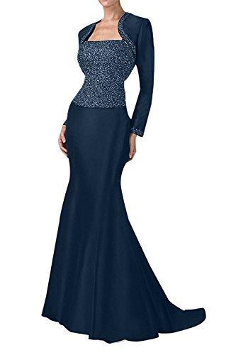 Blau Damen Taft Lang Abendkleider Festkleider Ballkleider Brautmutter Hundkragen Charmant Pailletten Tinte TvqaScw