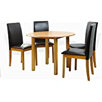 Dining Kitchen Set of 5 Piece Round Table and 4 Classic Solid Wood Chairs Fallabela in Maple Finish