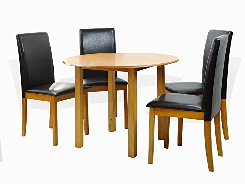 Maple Finish Wood Dining Table - SunBear Furniture Dining Kitchen Set of 5 Piece Round Table and 4 Classic Solid Wood Chairs Fallabella in Maple Finish