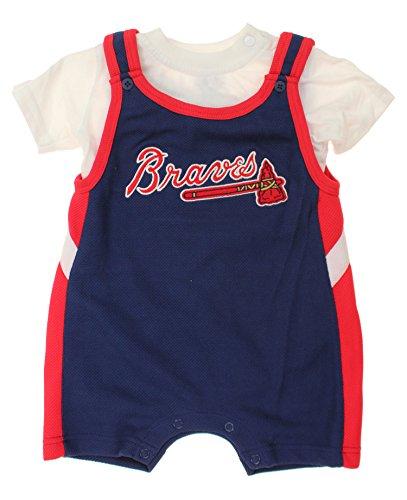 Atlanta Braves MLB Baby Boys Infant Short-All and Creeper Set, Navy-White-Red (24 Months)