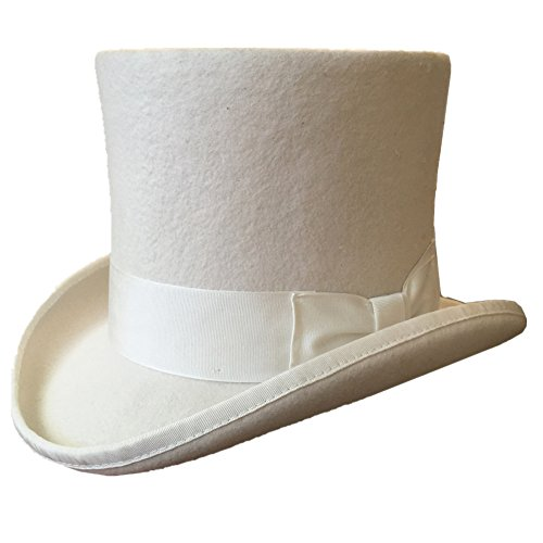 White Wool Felt Men Top Hat Wedding Mad Hatter 7'' Tall Topper Hats (L = 59cm ( 7 3/8)) by Hanshow