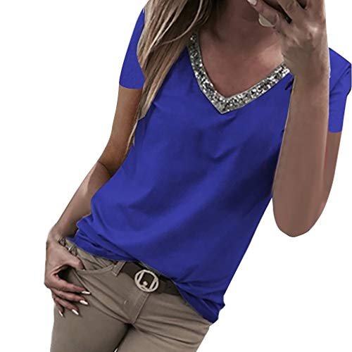 Aniywn Women V Neck Sequin T-Shirt Short Sleeve Plus Size Loose Tops Sparkle Bling Blouse Tunic Blue