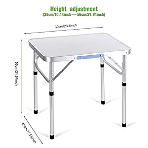 Leoneva Portable Camping Tables with Aluminum Table Top for Picnic, Camp, Beach, Boat (2ft Table#)