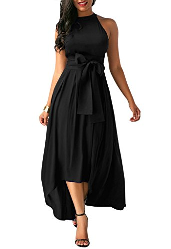 Annystore Women Sleeveless Solid Color Formal Belted Asymmetrical Maxi Dress Black L