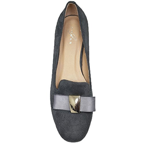 SAPPHIRE BOUTIQUE FLC053 Rutter Faux Suede Bow Low Heel Rhinestone Slip On Flat Shoes Loafers Grey eqGmcqeA68