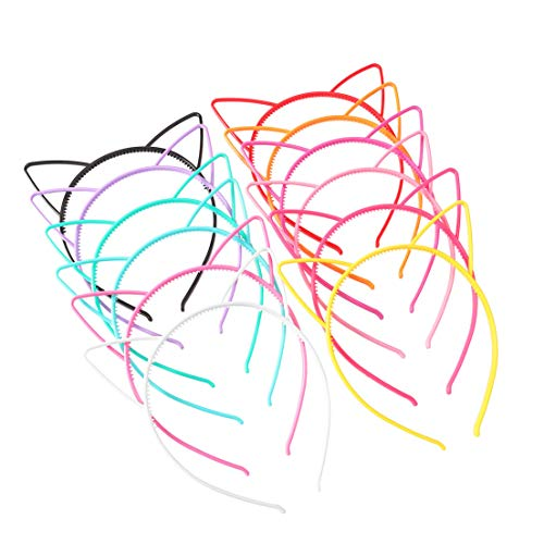 Unomor Plastic Cat Ears Headband for Cat Birthday Party Supplies and Daily Decorations, 24 Pieces with 12 Colors