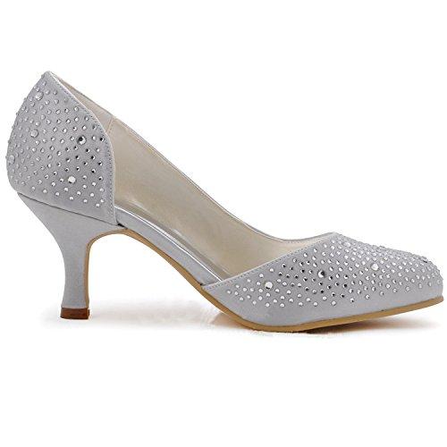 Minishion Femmes Sparkle Satin Soirée Parti Bal Mariage Chaussures De Mariage Pompes Sandales Flatfs Style2-blanc-6.5cm Talon
