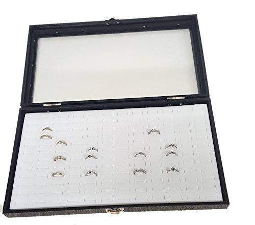 Foam Display Ring Toe (Glass Top Black Jewelry Display Case With 144 Slot White Ring Display Insert)