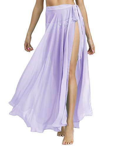 Yexinbridal Women's Swimsuit Cover Up Beach Wrap Skirt Pareo Sarong Swimwear Bikini Coverups Lilac XL-XXL