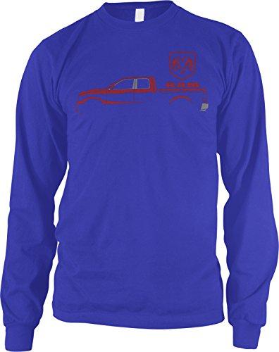 Lst Chassis - Amdesco Men's RAM Trucks, Red Truck Silhouette Long Sleeve Shirt, Royal Blue Small