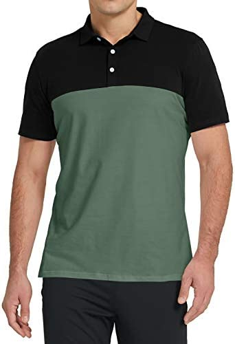 Aiyino Men's Dry Fit Long Sleeve Polo Golf Shirt Cotton T Shirts L Long Sleeve Red