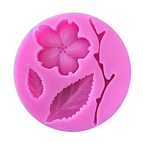 Fine Peach Blossom Shape Fondant Silicone Molds Cake Decorating Tools Chocolate Mold Twig Flower Cake Mould (Pink)