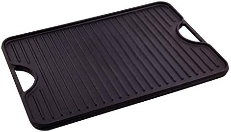 Victoria GDL-196 Rectangular Cast Iron Reversible Griddle Grill Seasoned with 100 Kosher Certified Non-GMO Flaxseed Oil, 20 x 14 Inch, Black
