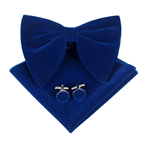 (Levao Mens Velvet Bow Tie Vintage Tuxedo Big Bowtie & Cufflinks & Pocket Square Set RB002T-E Navy Blue)