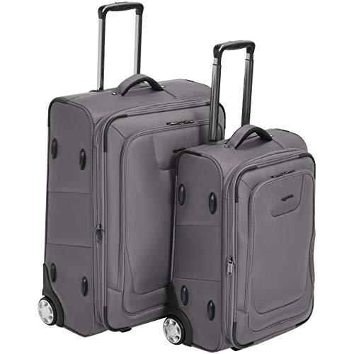 AmazonBasics 2 Piece Expandable Softside Luggage Suitcase With TSA Lock And Wheels Set - Grey