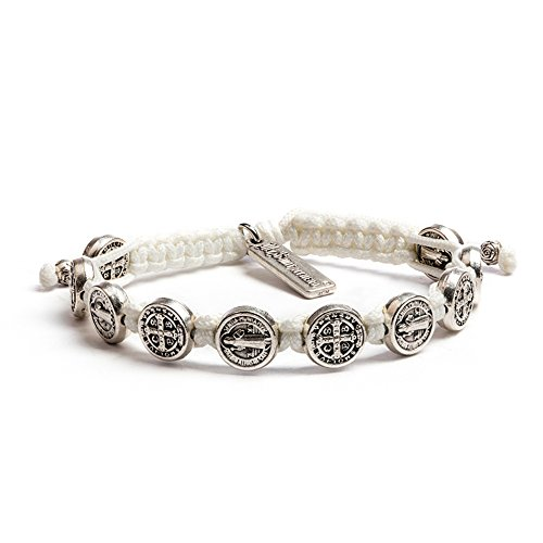 My Saint My Hero Benedictine Blessing Bracelet - Silver-Tone Medals with Hand-Woven White Cord