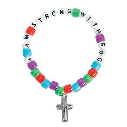 Fun Express - I Am Strong with God Pony Bead Bracelet - Craft Kits - Kids Jewelry Craft Kits - Kids Bracelet - 12 - Kit Craft Bracelet Faith