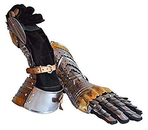 AnNafi Gauntlet Steel Gloves Pair w Brass Accents | Medieval Knight Costume| Warrior Metal Gauntlet -