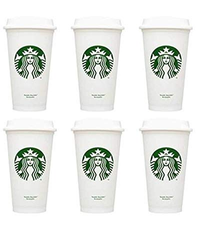 (STARBUCKS Reusable Recyclable Grande 16 OZ Plastic Travel To Go Coffee Cups BPA Free (6pcs))