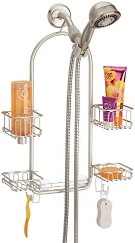 mDesign Modern Metal Hanging Bath and Shower Caddy Organizer for Hand Held Shower Head and Hose - Storage for Shampoo, Conditioner, Hand Soap - 4 Swivel Shelf Format - Satin