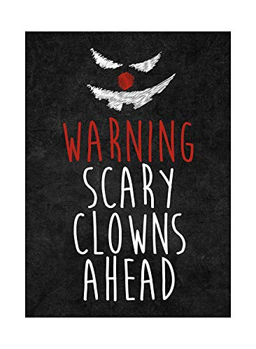 Poster Uv Warning Scary Clowns Ahead Print Creepy Clown Face Picture Halloween Seasonal Decoration Sign Aluminum Metal Faces Halowwen Signs Wall Decorations Prints Locker -