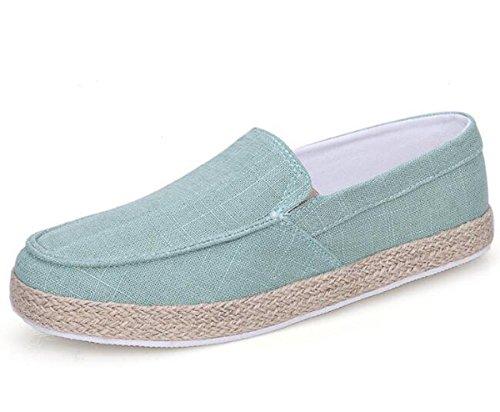 Beauqueen Zapatillas de deporte de lino del hombre Lona-ons Ligero que conduce ocasional Suave suave respirable Zapatos ocasionales UE tamaño 39-44 Green