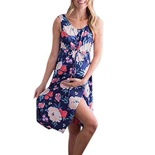 26722c1597 ❤️Youliwj❤️Women s Floral Print Sleeveless Draped Long Maxi with Belt  Maternity Dress Dark Blue