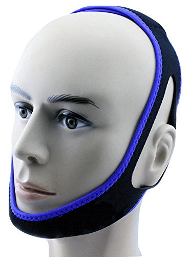 Anti Snore Chin Strap by NONPAREIL - Quieter Nights for Mouth Breathers and Their Companions, Cool Blue (X-Long 30')