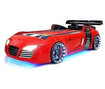 xtrm factory 81 lit voiture garon rouge v8 leds lit enfant 90x190 rouge - Lit Voiture Enfant