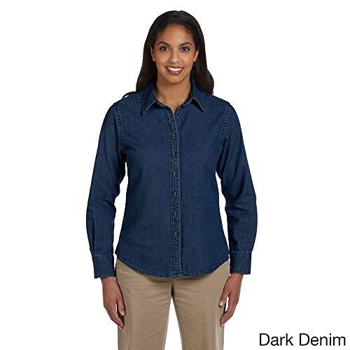 - Harriton Women's Long Sleeve Denim Shirt Dark Denim L
