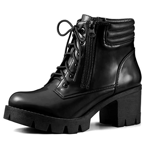 Allegra K Women's Chunky Heel Lace Up Zipper Black Combat Boots - 8 M US