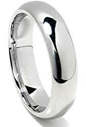 Titanium 6mm High Polish Plain Dome Wedding Band Ring (Sizes 6 to 13.5)