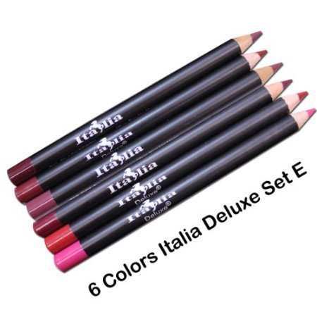 6 Colors of Italia Deluxe Lip Liner Set E – Travel Size (5″) Ultra Fine Pencils – Mighty Gadget Collection E