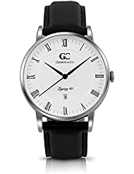 Gelfand & Co. Unisex Minimalist Watch Black Leather Carnegie 40mm Silver with White Dial
