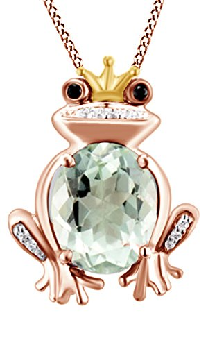 Jewel Zone US Simulated Green Quartz with Black & Natural White Diamond Frog Prince Pendant Silver in 14K Two Tone Sterling Silver