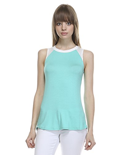 TODAY SHOWROOM Womens Slimmer Fit Contrast Shoulder Tank Top (in 5 colors) (SMALL, MINT/IVORY)