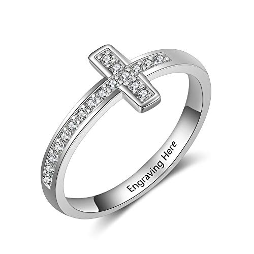FenFang Personalized Cubic Zirconia Cross Rings for Women Promise Cross Name Rings for Mothers Day (6) ()