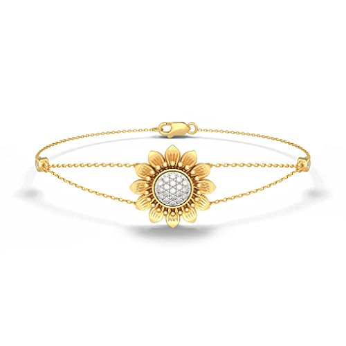 Or jaune 18 K, 0.182 CT TW Round-cut-diamond (Ij| SI) Identification-bracelets